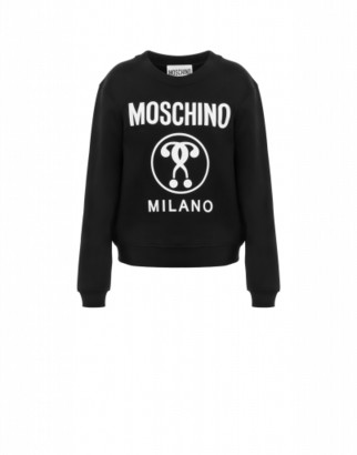Moschino Double Question Mark Cotton Sweatshirt Woman Black Size 36 It - (2 Us)