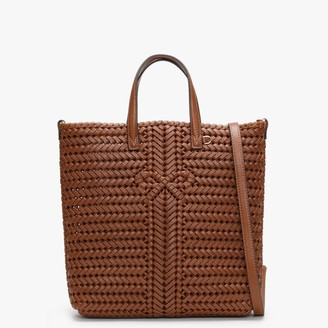 Anya Hindmarch Small Neeson North South Cedar Leather Woven Tote Bag