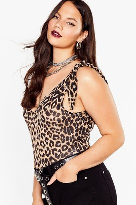 Nasty Gal Womens It Must V Love Plus Leopard Bodysuit - Brown - 22