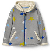 Lands' End Girls Plus Pattern Aline Sherpa Hoodie-Roasted Cashew Leopard