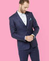 Ted Baker Checked Wool Jacket Navy