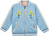 Stella McCartney Embroidered Satin Reversible Bomber Jacket