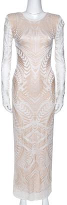 Balmain White Geometric Open Knit Long Sleeve Fitted Dress M