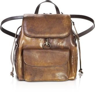 Chiarugi Brown Genuine Leather Backpack