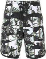 Neil Barrett palm camouflage print swim shorts