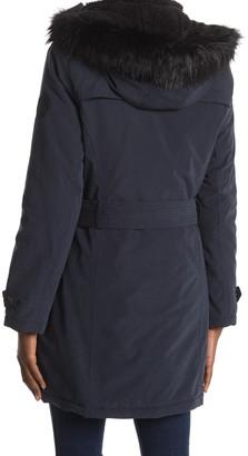DKNY Belted Faux Fur Trim Hood Anorak
