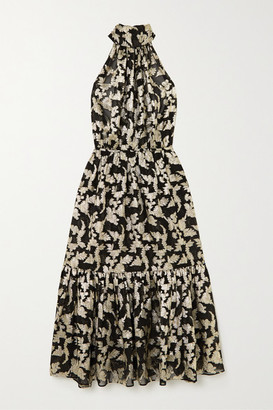 Saint Laurent Metallic Floral Silk And Lurex-blend Chiffon Halterneck Dress - Black