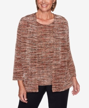 Alfred Dunner Petite Catwalk Space-Dyed Layered-Look Top