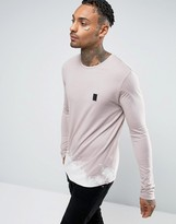 Religion Long Sleeve T-Shirt with Bleached Out Curved Hem