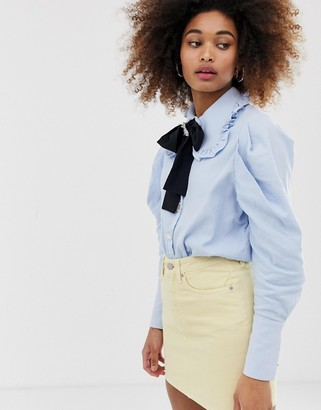 Sister Jane jewel button shirt with pussybow and pooch broach detail