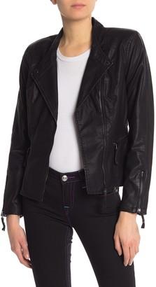 Blanknyc Denim Faux Leather Vegan Moto Jacket