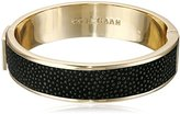 """Cole Haan Update"""" Wide Hinged Leather Inlay Bangle Bracelet"""