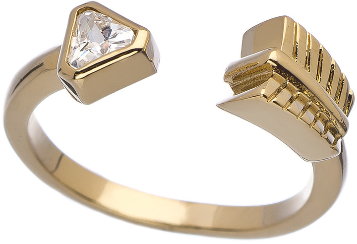 Roman Luxe Gold and Crystal Arrow Wrap Ring