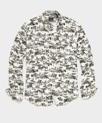 Todd Snyder Italian Deer Print Flannel Button Down Shirt