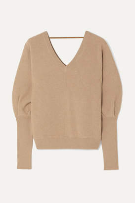Brunello Cucinelli Bead-embellished Ribbed Cashmere Sweater - Beige