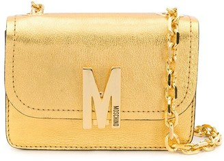 Moschino M logo-plaque shoulder bag