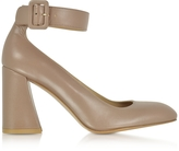 Stuart Weitzman Clarisa Mouse Nappa Leather Ankle Strap Pumps