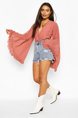 boohoo Dobby chiffon flared sleeve top