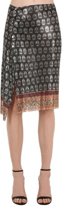 Paco Rabanne Printed Metal Mesh Wrap Skirt