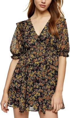 Topshop Shirred Waist Minidress
