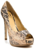 Pumps - Lainey Snake Print Peep Toe