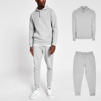 River Island Grey slim fit hoodie and jogger tracksuit