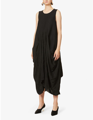 UMA WANG Alice sleeveless linen and wool-blend twill and jacquard midi dress