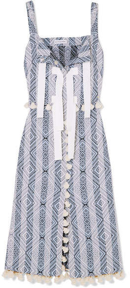 Altuzarra Villette Grosgrain-trimmed Tasseled Cotton-blend Jacquard Midi Dress - Sky blue