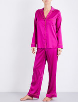 Yolke Boysenberry silk-satin pyjama set