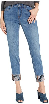 Tribal Five-Pocket Skinny w/ Embroidery Rolled Cuff in Sweet Blue (Sweet Blue) Women's Jeans