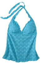 Mossimo Women's Crochet Halter Tankini Swim Top -Allure Blue