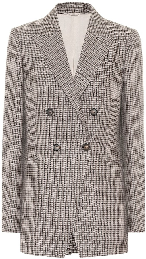 Brunello Cucinelli Checked linen, wool and silk blazer