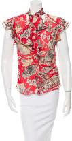 Diane von Furstenberg Silk Cap Sleeve Blouse