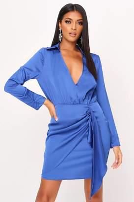 I SAW IT FIRST Cobalt Blue Satin Drape Plunge Mini Shirt Dress