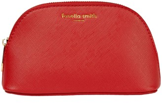 Fenella Smith Red Vegan Leather Oyster Cosmetic Case