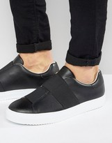 Armani Jeans Elastic Trainers In Black