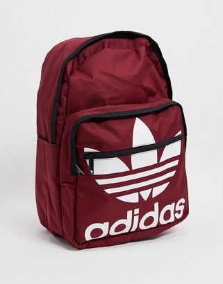 adidas trefoil backpack in burgundy