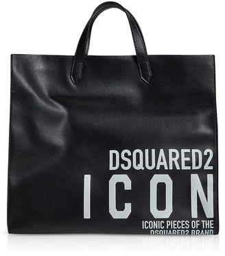 DSQUARED2 New Icon Printed Calf Leather Tote Bag