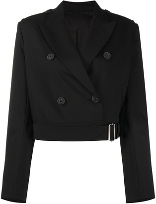 Helmut Lang Double-Breasted Cropped Wool Jacket