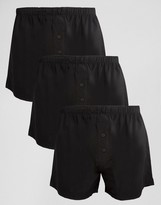 Asos Woven Boxers In Black 3 Pack