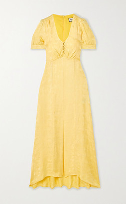Paul & Joe Floral Satin-jacquard Dress - Yellow