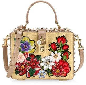 Dolce & Gabbana Dolce Box Floral Raffia Top Handle Bag