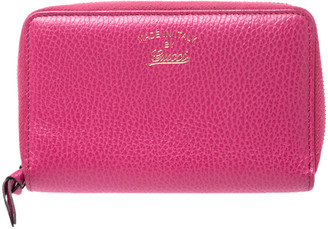 Gucci Pink Leather Swing Zip Around Wallet