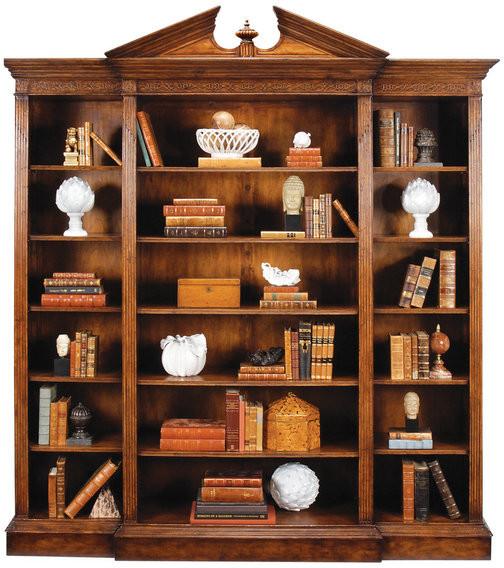 Jonathan Charles Fine Furniture Triple Breakfront Walnut Open Bookcase with Pediment2142x500x2390