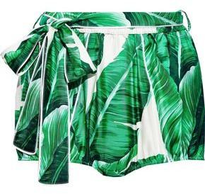 Dolce & Gabbana Belted Printed Silk-faille Shorts