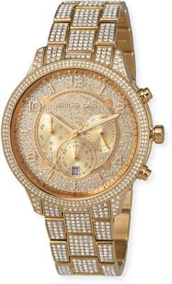 MICHAEL Michael Kors 43mm Runway Glitz Watch with Bracelet, Gold