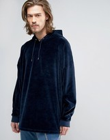 Asos Extreme Oversized Hoodie in Navy Velour