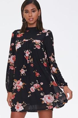 Forever 21 Floral Mock Neck Swing Dress