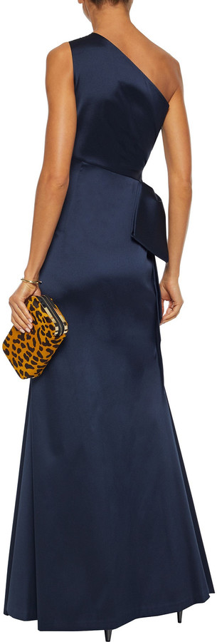 Thumbnail for your product : Sachin + Babi One-shoulder Bow-embellished Satin-twill Gown