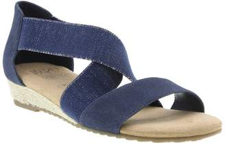 Impo Reflect Stretch Silver Crossover Wedge Sandal